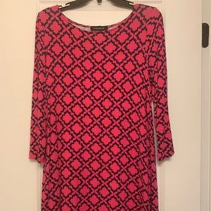 Pink and Navy 3/4 Sleeve Dress